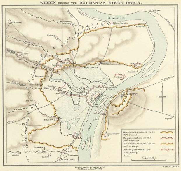 Карта от освобождението на Видин 1878г