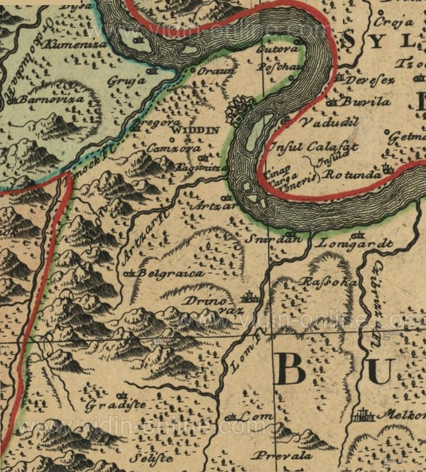 Карта на Видин и областта от 1736 година