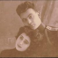 Надписана снимка: На милият ни и незабравим Митьо за спомен Иван и Кица, 27.І.1928 г. Белоградчик