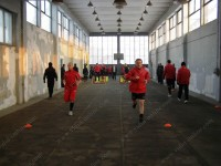 """В понеделник играчите на """"Бдин"""" преди обяд имаха занимания във фитнес залата на стадиона, а следобедната тренировка бе  на закритата лекоатлетическа писта"""