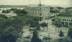 Градската поща и Земеделската банка на улица Александровска с изглед към Дунав